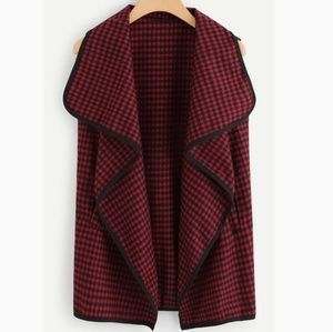 Jackets & Blazers - 🚨NEW LIST! Red And Black Checkered Waterfall Vest